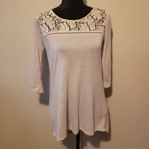 Oatmeal Tunic Top with Lace Detail